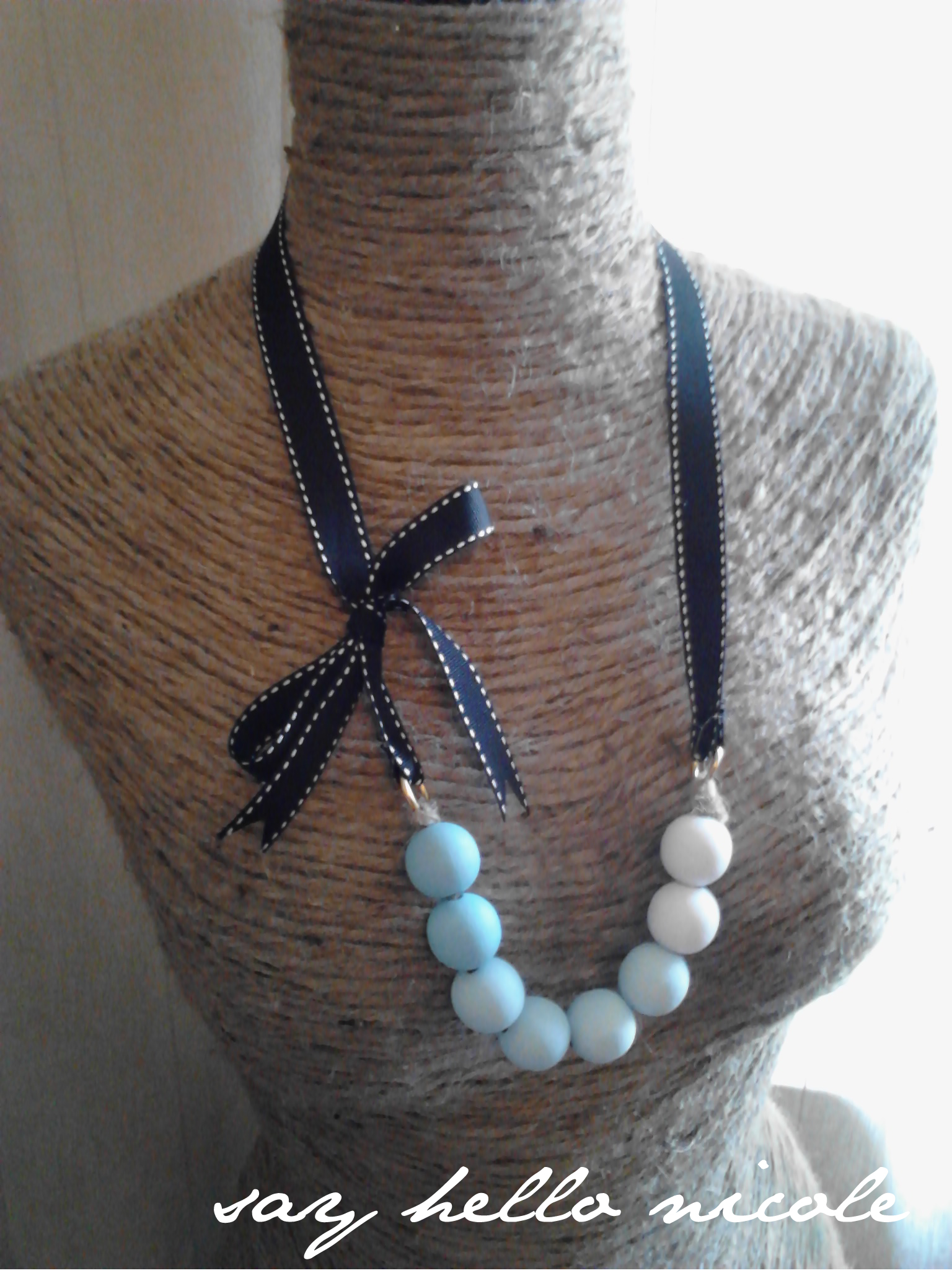 Tutorial tiffany blue ombre wood bead grosgrain necklace for How to make a wooden pendant